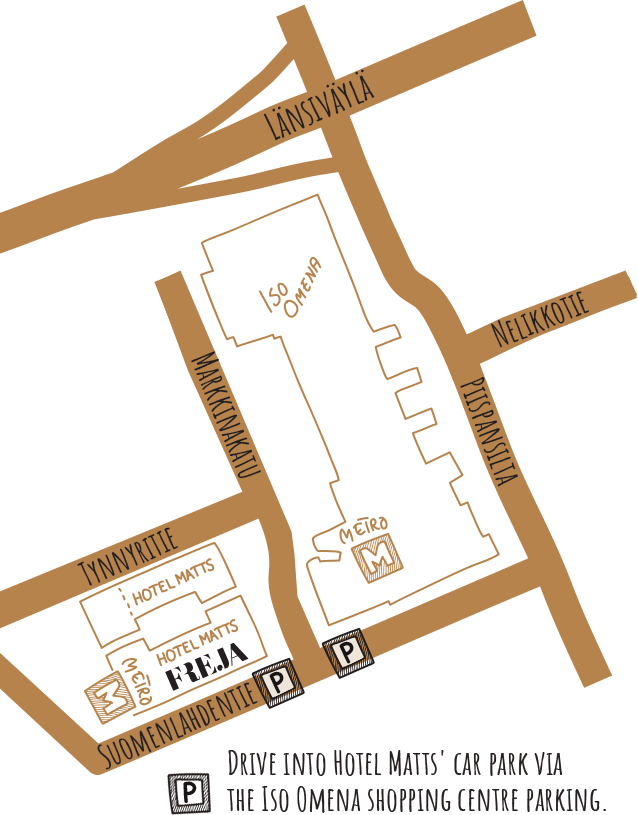 A map how to find restaurant Freja in Espoo Matinkylä.