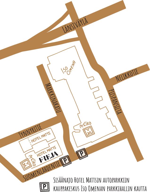 Kartta ja ajo-ohje ravintola Frejaan Espoon Matinkylässä.
