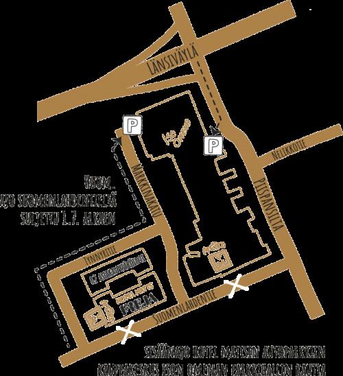 Kartta Frejan ja Hotel Mattsin autoparkkiin.